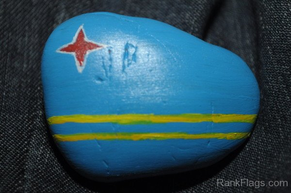 Aruba Flag Rock Painting
